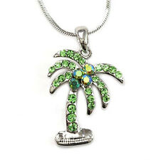 and Necklace Rhodium Plated Gift Boxed Silver Tone Elegant Palm Tree Pendant