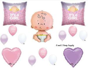 BABY GIRL SLEEPING SHOWER BALLOONS Decorations Supplies It's A Welcome Pink