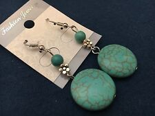 """Silver with Painted Turquoise Beads Dangle Earrings Cute aprox 2"""" from Hooks"""