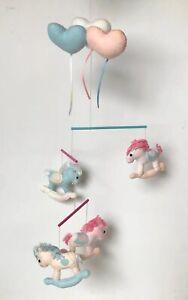 Vintage Baby Girl Crib Mobile Felt Nursery Decor Rocking Horses Hearts Pink Blue