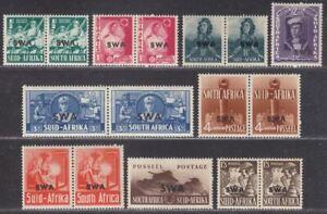 South West Africa 1941-43 KGVI War Effort Overprint Set Mint SG114-22 cat £55