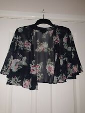 Womens Navy Floral Short Sleeve Thin Cardigan Size 14 New Look