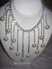 Vintage   Jewelry PEARL  , CLEAR RHINESTONES NECKLACE RARE