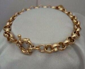"9ct 9k Yellow ""Gold Filled"" Ladies Men Belcher Chain Bracelet .8.7"" + Gift pouch"