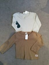 TWO DESIGNER APPAMAN LONG SLEEVE T SHIRTS WITH PICTURES ON SLEEVES AGE 2 -BNWT