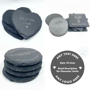 Personalised Engraved Heart Slate Coasters Square, Round Coaster Any Logo, Text