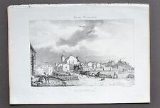 Litografía Original siglo XIX Vista de Roquefort Los Las landas J. Philippe