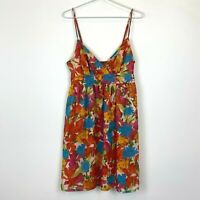Portmans Womens Orange Floral Sleeveless Lined Dress with Side Zipper Size 12