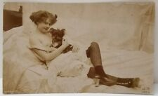 1910s French NUDE Bare Breast SEXY Innocent Woman & Puppy Orig JEAN AGELOU PHOTO