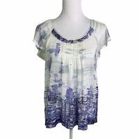 Banana Republic 100% Silk White Blue Print Scoop Neck Pleated Top Womens S NWT