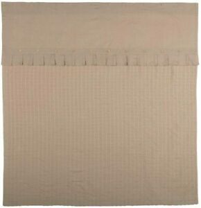 Cottage Style Shower Curtain Taupe Waffle Cotton Linen Fabric 72 x 72 Buttons