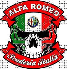 #03-SKULL ALFA ROMEO SCUDERIA ITALIA - 9,5x9 cm! AUFKLEBER AUTOCOLLANT STICKER