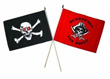 "12x18 12""x18"" Wholesale Combo Pirate Red Eyes Skull & Red Surrender Stick Flag"