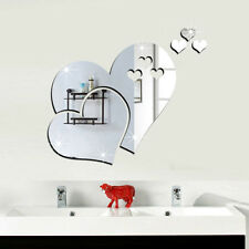 1pc DIY 3D Mirror Love Heart Wall Stickers Bedroom Decal Mural Home Decor