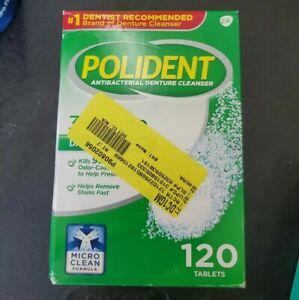 Polident 3 Minute Whitening Antibacterial Denture Cleanser 120 Tablets 11/2022