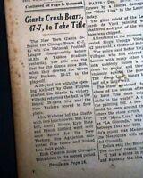 Best NEW YORK GIANTS Win NFL Pro Football Title vs. Chicago Bears 1956 Newspaper