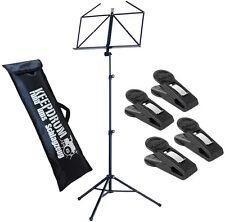 K&M 10065 Notenständer schwarz + 4 Stück Notenklammer + KEEPDRUM Tasche