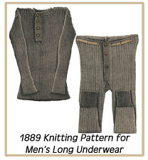 1889 Vintage Knitting Pattern for Men's Light Weight Long Underwear Size Medium