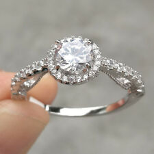 Vintage Round White Cz 925 Sterling Silver Wedding Engagement Ring Women's Sz 10
