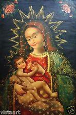 "RARE Cuzco Oil Painting Peru Folk Art 15"" x 23""- ""Nurturing Mother (Religious)"""