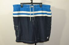 Caribbean Joe 2XL Swim Trunks Shorts Blue White Stripes Lining