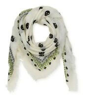 Aeropostale Womens Sheer Skull Scarf, White, Classic (57 To 59 in.)
