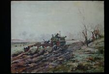 Ca. 1930's German Impressionist Painting Caterpillar D2 Tractor Plow WW2 15 x 19