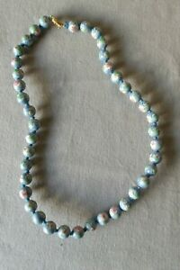 Hand Painted Porcelain Beads Necklace Chinese Gold Blue Green White Pink