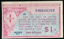 SERIES 471 $1 ONE DOLLAR MPC MILITARY PAYMENT CERTIFICATE ABOUT UNCIRCULATED