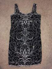 Women's JKARA New York Black Beaded Short Cocktail Dress Gown size 10