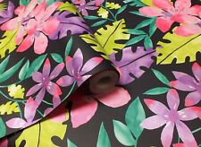 Bold Bright Tropical Floral Wallpaper