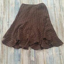 Byer Girl Asymmetrical Lined Skirt Brown Gold Stripes Knee Length Womens Size L
