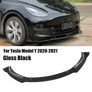 Front Bumper Lip Body Kit Spoiler Black For Tesla Model Y 2020-2021
