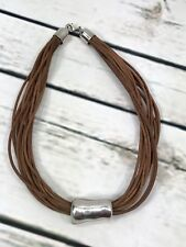 Silpada .925 Sterling Silver Electroform 14 Strand Brown Leather Necklace N0905