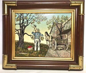 H. HARGROVE FRAMED PAINTING1980 PICKING APPLES Signed  Artistic Interiors Certif