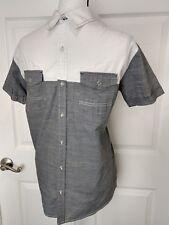 DRILL CLOTHING COMPANY Mens Short Sleeve Button Front Shirt Sz Medium Gray White