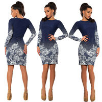 S/M/L/XL Women Round Neck Long Sleeve Printing Floral Dress Party Ball Gown Xmas