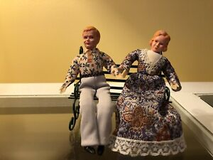 Vintage caco dollhouse dolls man and woman And Metal Bench