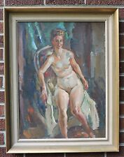 Vintage IMPRESSIONIST Modern NUDE WOMAN Oil Painting by VINCENT NESBERT c1940s