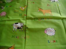 """coupon tissu  enfant   """"  animaux  de la ferme """"  74  X 108  cm"""