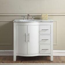 "36"" Carrara White Marble Counter Top Bathroom Single Vanity Sink Cabinet 290Wl"