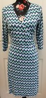 Pepperberry Wrap Dress 3/4 Sleeves Size 12 Blue Green Cute Ditsy Comfort Casual