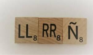 Lot of 3 Spanish Scrabble Letter Tiles Pieces  LL RR  N
