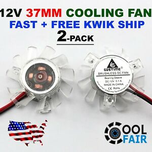 12V 37mm PC VGA Video Card Cooling Fan Heatsink Cooler Replacement 2-Pin 2-Pack