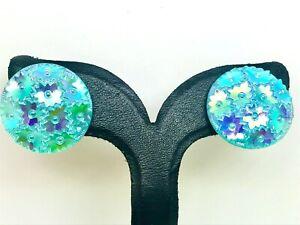 Czech Blue Art Glass Clip on Earrings