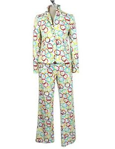 Moschino Set Vintage Jacket Trousers Psychedelic White Cotton