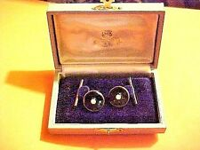 Vintage K Mikimoto Sterling Silver Black Onyx and Pearl Cufflink Set Japan