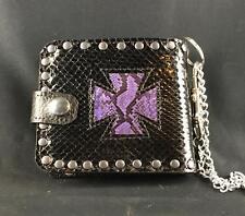 Iron Cross Genuine Python Skin Leather Wallet Key Belt Chain Biker feeanddave
