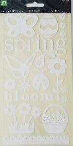 Making Memories Easter Spring White Velvet Stickers 2 Sheets 36 pcs