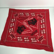 VTG 70s USA Red Cotton Willie Nelson & Family Bandanna Scarf Tour Souvenir